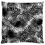 Tropical leafs pattern, black and white jungle theme Large Flano Cushion Case (One Side)