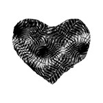 Tropical leafs pattern, black and white jungle theme Standard 16  Premium Flano Heart Shape Cushions