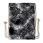 Tropical leafs pattern, black and white jungle theme Drawstring Bag (Large)