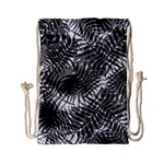 Tropical leafs pattern, black and white jungle theme Drawstring Bag (Small)