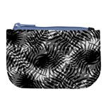 Tropical leafs pattern, black and white jungle theme Large Coin Purse