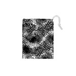 Tropical leafs pattern, black and white jungle theme Drawstring Pouch (XS)