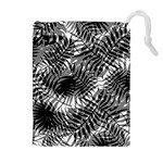 Tropical leafs pattern, black and white jungle theme Drawstring Pouch (XL)