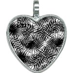 Tropical leafs pattern, black and white jungle theme Heart Necklace