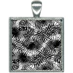 Tropical leafs pattern, black and white jungle theme Square Necklace