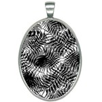 Tropical leafs pattern, black and white jungle theme Oval Necklace