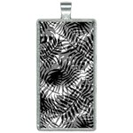 Tropical leafs pattern, black and white jungle theme Rectangle Necklace