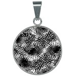 Tropical leafs pattern, black and white jungle theme 25mm Round Necklace