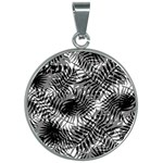 Tropical leafs pattern, black and white jungle theme 30mm Round Necklace