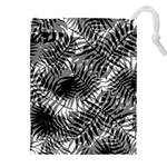 Tropical leafs pattern, black and white jungle theme Drawstring Pouch (4XL)