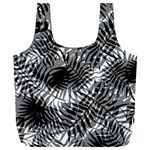 Tropical leafs pattern, black and white jungle theme Full Print Recycle Bag (XXXL)