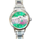 Crackling Green Round Italian Charm Watch