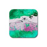 Crackling Green Rubber Square Coaster (4 pack)