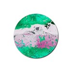 Crackling Green Rubber Round Coaster (4 pack)