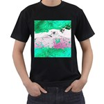 Crackling Green Men s T-Shirt (Black) (Two Sided)