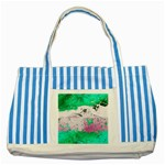 Crackling Green Striped Blue Tote Bag