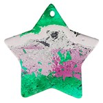 Crackling Green Star Ornament (Two Sides)