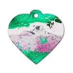 Crackling Green Dog Tag Heart (One Side)