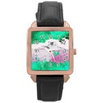 Crackling Green Rose Gold Leather Watch