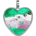 Crackling Green Heart Necklace