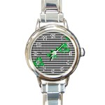 Houndstooth Leaf Round Italian Charm Watch