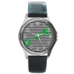 Houndstooth Leaf Round Metal Watch