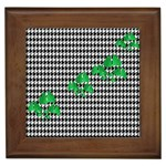 Houndstooth Leaf Framed Tile