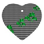 Houndstooth Leaf Ornament (Heart)