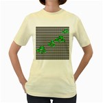 Houndstooth Leaf Women s Yellow T-Shirt