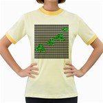 Houndstooth Leaf Women s Fitted Ringer T-Shirt