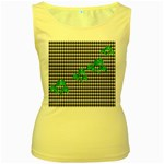 Houndstooth Leaf Women s Yellow Tank Top