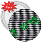 Houndstooth Leaf 3  Buttons (10 pack)