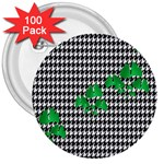 Houndstooth Leaf 3  Buttons (100 pack)