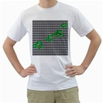 Houndstooth Leaf Men s T-Shirt (White) (Two Sided)