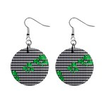 Houndstooth Leaf Mini Button Earrings