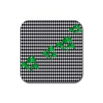 Houndstooth Leaf Rubber Square Coaster (4 pack)