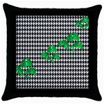 Houndstooth Leaf Throw Pillow Case (Black)