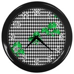 Houndstooth Leaf Wall Clock (Black)