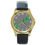 Houndstooth Leaf Round Gold Metal Watch