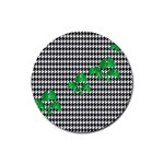 Houndstooth Leaf Rubber Coaster (Round)