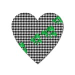 Houndstooth Leaf Heart Magnet