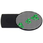 Houndstooth Leaf USB Flash Drive Oval (2 GB)