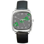 Houndstooth Leaf Square Metal Watch