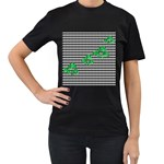 Houndstooth Leaf Women s T-Shirt (Black) (Two Sided)