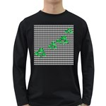 Houndstooth Leaf Long Sleeve Dark T-Shirt