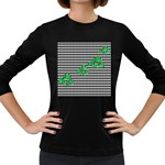 Houndstooth Leaf Women s Long Sleeve Dark T-Shirt