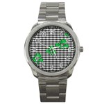Houndstooth Leaf Sport Metal Watch