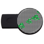 Houndstooth Leaf USB Flash Drive Round (4 GB)