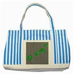 Houndstooth Leaf Striped Blue Tote Bag
