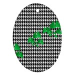 Houndstooth Leaf Oval Ornament (Two Sides)